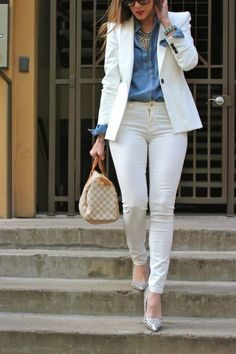 ✔ Office Look Blazer Work Outfits Summer Office Outfits, Casual Work Outfits, Business Casual Outfits, Professional Outfits, Mode Outfits, Classy Outfits, Chic Outfits, Formal Outfits, Dress Outfits