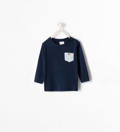 ORGANIC COTTON LONG SLEEVED T-SHIRT WITH POCKET-T-shirts-Baby boy (3 months - 3 years)-KIDS | ZARA Canada