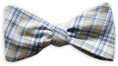 Querbinder Tartan blau und beige – Zena Millan – handcrafted bow ties