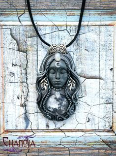 Moon Goddess Dark Fullmoon Goddess Pendant-moon magic by ChaNoJaJewelry. Moon Goddess Pendant Dark Goddess Gothic Jewelry Magic. This pendant was created with a huge amount of love and passion! I love what I do, it keeps me spiritually centered and in the moment. Choosing authentic quality supplies for my handmade jewelry is very important to me. What a magical energy this Goddesses radiates. She is stunning and truly gorgeous!