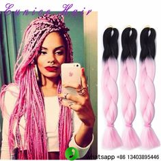 Hair Braids Smart Pre Stretched Braiding Hair 1pack 24 100g Jumbo Braid Kanikalon Purple Ombre Pink Black Color Synthetic Braids Full Star Hair