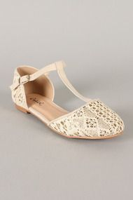 Qupid Palmer-99 Glitter Lace T-Strap Round Toe Flat in black or ivory, super cute bridesmaid shoe!!