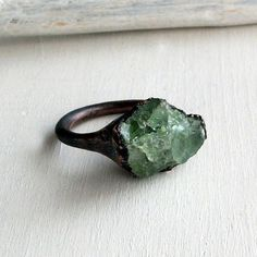 uncut emerald ring