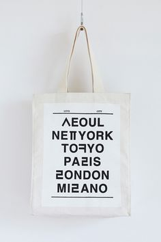Clever fusion of English and Korean alphabet :: LOVE CITY ECO BAG by NOHANT