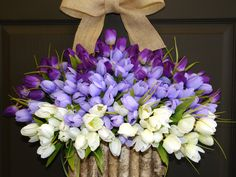 spring wreaths Mother's Day gifts purple tulips by aniamelisa