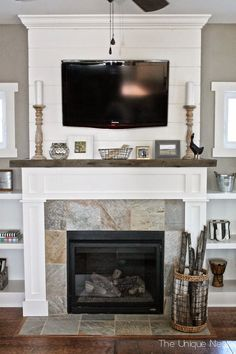 Shiplap Fireplace Makeover with reclaimed wood mantle and Built-Ins… Fireplace Update, Fireplace Built Ins, Shiplap Fireplace, Farmhouse Fireplace, Home Fireplace, Fireplace Remodel, Fireplace Surrounds, Fireplace Design, Fireplace Ideas