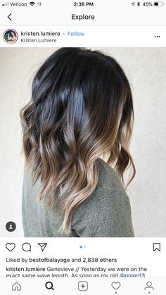 Long black and bronde balayage lob short ombre, ombre hair, hair color, lon Bronde Balayage, Lob Balyage, Long Bob Balayage, Balyage Short Hair, Bayalage Brunette, Light Brunette, Balayage Straight, Short Dark Hair, Short Ombre