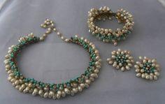 Alice Caviness Pearl Baby Blue Bead Choker Necklace Cuff Bracelet Earrings Set   eBay