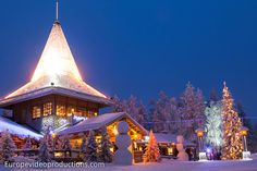 Santa Claus Office during blue moment in Lapland