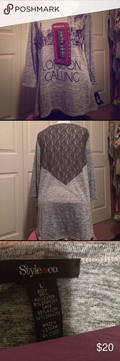 New London Calling large 3/4 sleeve top New London Calling 3/4 sleeve top with lace on back Style & Co Tops Blouses