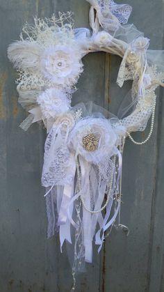 White Shabby Wreath Vintage wedding Shabby chic wreath
