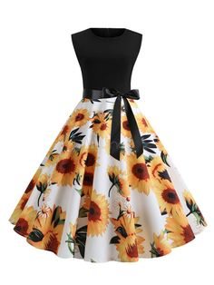 OFF] 2019 Sunflower Print Sleeveless Belted Flare Dress. Cute Prom Dresses, Dance Dresses, Pretty Dresses, Beautiful Dresses, Woman Dresses, Elegant Dresses, Dresses For Women, Swing Dance Dress, Cotillion Dresses