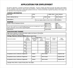 employee application template word