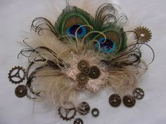 Navy Steampunk Fascinator Midnight Blue and Nude Mink Beige Brown Rustic Pheasant Peacock Feather and Brass Cogs Wedding Hat Made to Order