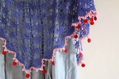 Cherry Heart: Blog: Podcast Episode Four - love the colorful edging on this shawl