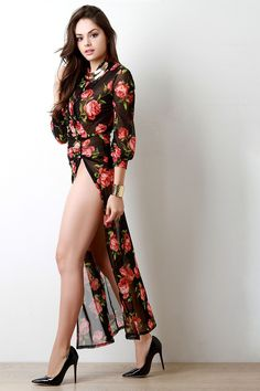 5e6d76f990e Rosette Semi-Sheer Mesh High Slit Maxi Dress