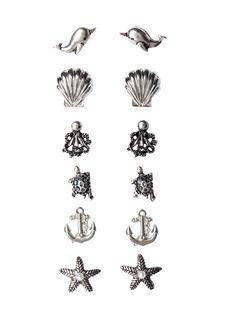 LOVEsick Multi Sea Creature Earring 6 Pair   Hot Topic