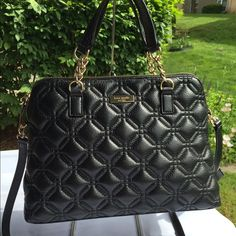 """Kate Spade Astor Court Small Rachelle Brand new with tags. For sale only. No trading. Style #: WKRU2653. Color: Black. Zip-top closure. Handles: 5"""" drop. Longer strap: 20"""" drop. Approximately 12 1/2""""L x 10""""H x 5""""W. kate spade Bags Shoulder Bags"""