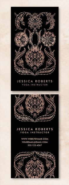 These trendy faux rose gold and black business cards were inspired by the intricacy of henna designs. Perfect for yoga instructors, tattoo artists, cosmetologists, hair stylists, fashion stylists, interior designers, nail technicians, spas and salons. Customize the templates instantly to see how your cards would look.