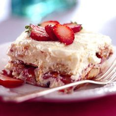 Strawberry Tiramisu. Prepare this a day ahead so all of the elements can meld and the ladyfingers to soften fully.