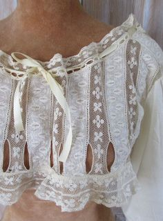 Antique lace and cotton top - sweetly saucy boudoir wear or could absolutely be worn as outerwear, too!