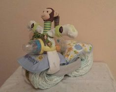 Diaper motorcycle bike cake gift baby shower by PixiePinkCheeks