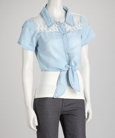 Take a look at this Denim Blue Daisy Lace Tie Short-Sleeve Top by Meetu Magic on #zulily today!