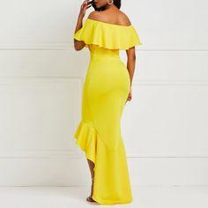 African Fashion Falbala Off Shoulder Asymmetrical Women's Maxi Dress African Dresses For Women, Sexy Party Dress, Asymmetrical Dress, Yellow Dress, Occasion Dresses, African Fashion, Designer Dresses, Fashion Dresses, Clothes For Women