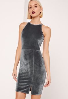 Crush on velvet in this bodycon dress - featuring a dark grey hue, 90's neck and split hem for an instant babe hit.