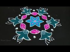 Rangoli Design With colours for Festivals and Competitions with dots 9x5 | Daily Rangoli - YouTube