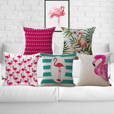 Cotton Linen Flamingo Furnishing Cushion Pillow on sofa for home decorationDESCRIPTION DESCRIPTION Stylish and attractive cushion cover which add add a new color to the existing palette. Diy Pillows, Decorative Throw Pillows, Cushions, Cushion Covers, Pillow Covers, Cushion Pillow, Tropical Bedrooms, Flamingo Decor, European Home Decor