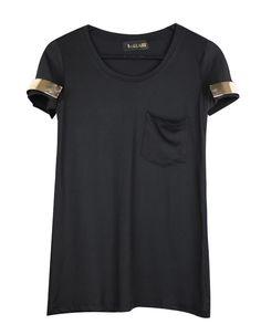 Black Front Pocket Slim T-shirt with Metal Short Sleeve