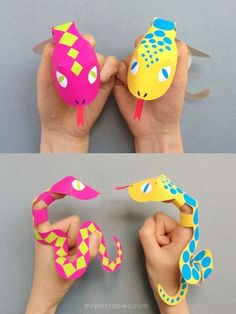 Kids love making these printable snake puppets.