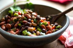 NYT Cooking: This is a colorful variation of the black-eyed peas salad I always serve at my New Year's Day open house. You can cook the black beans and red beans together or separately. The black-eyed peas cook more quickly so should be cooked separately. Black Eyed Pea Salad, Cooking Recipes, Healthy Recipes, Veggie Recipes, Healthy Meals, Your Recipe, Recipe Box, How To Cook Quinoa, Soup And Salad