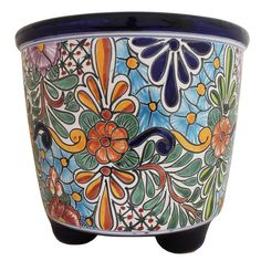 This impressive Talavera Planter embodies all the charm of Mexican Talavera. Featuring intricate floral patterns and classic, multi-colored designs, this striking Talavera Planter will beautify any home or garden. Painted Clay Pots, Painted Flower Pots, Hand Painted, Flower Planters, Pottery Pots, Ceramic Pottery, Mexican Furniture, Rustic Furniture, African Art Paintings