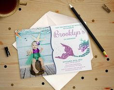 Birthday Invitation Glitter Siren Mermaid Under The by ThePIYLife