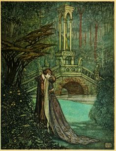 Maurice Lalau,  'Under the trees he pressed her to his heart without a word.' illustration of The Romance of Tristram and Iseult, Bédier, 1909, translated from the French by Florence Simmonds, London William Heinemann, c1910.