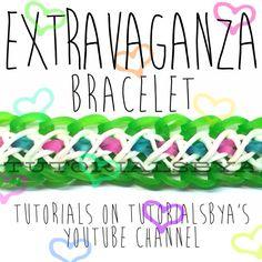 TutorialsByA's Original Rainbow Loom Extravaganza Bracelet- Tutorial is on TutorialsByA's YouTube channel