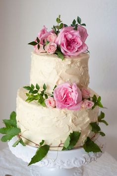 Cream Wedding Cake with Pink Roses  ~ Jill Lauren Photography