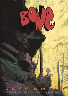 The adventure starts when cousins Fone Bone, Phoney Bone, and Smiley Bone are run out of Boneville and later get separated and lost in the wilderness, meeting monsters and making friends as they attempt to return home.  http://search.library.wisc.edu/catalog/ocm56208657