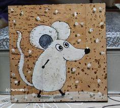 KLEINE SCHNEEMAUS von Herbivore11 Unikat Maus Schnee Inchies Kleinkunst Kork in Antiquitäten & Kunst, Malerei, Zeitgenössische Malerei | eBay!