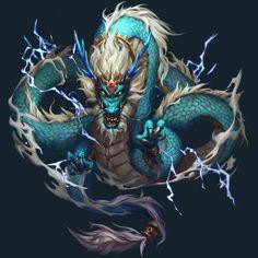 dragon by Jaron Zheng on ArtStation. Mythical Creatures Art, Mythological Creatures, Fantasy Creatures, Dark Fantasy Art, Fantasy Artwork, Mythical Dragons, Chinese Dragon Tattoos, Chinese Dragon Drawing, Dragon Illustration