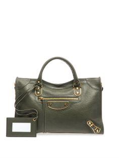 Classic City gold-edge leather tote | Balenciaga | MATCHESFASH...