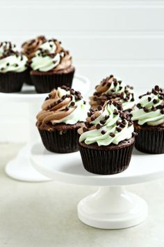 Mint Chocolate Chip Cupcakes with swirled buttercream.