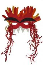 Handprint Dragon Mask. The kids loved making this and they really look like dragons!