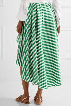 Caroline Constas - Adelle Asymmetric Striped Cotton-gauze Wrap-effect Midi Skirt - Green - x small