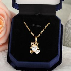45.5cm Lovely Bear Shape Inlay Zircon Pendant 18K Gold Plated Copper Necklace