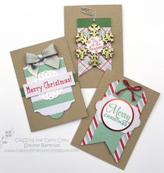 Cards with the Oh What Fun Tag Project kit by Stampin' Up!. The kit + a pack of notecards = lots of quick cards!