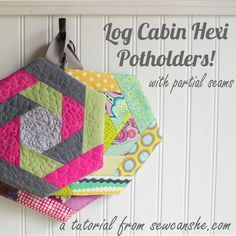 Great step by step tutorial for these quilted scrappy potholders
