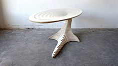 Stacked upon one another these 48 sub-elements form the layer version of 'One balance Desk'. The desk is slightly elastic up/down, but at the same time stable enough that you can jump on top of it without anything happening.  The desk consists of 48 sub-elements made of laminated birch veneer and glass plate.  Dimensions: H. 79 cm. W. 92 cm. L. 237 cm.  Basic model is white, but available in other colors on request.